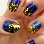 BLUE WITH GOLD NAIL ART
