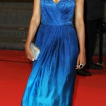 Tannishtha Chatterjee looks simple and elegant in a strapless blue gown during the 'Monsoon Shootout' Premiere